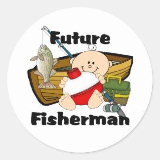 Pescador futuro pegatina redonda