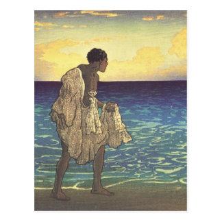 Pescador hawaiano tarjetas postales