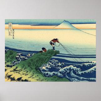 Pescador japonés de Kajikazawa del arte del Póster