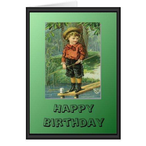 Pescador joven tarjeta de felicitación