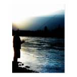 Pescador ligero de la tarde postales