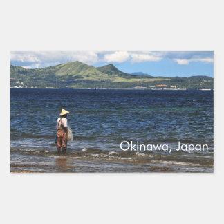 Pescador Okinawan Pegatina Rectangular