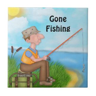 Pescador pesquero ido azulejo ceramica