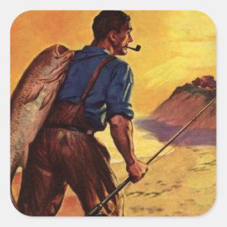 Pescador por la playa calcomanías cuadradass