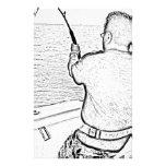 Pescador que juega un pescado del monstruo papeleria personalizada