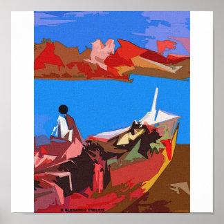 Pescador y bote poster
