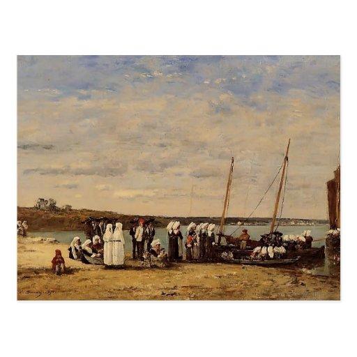 Pescadores de Eugene Boudin- de Kerhor, Plougastel Tarjetas Postales