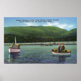 Pescadores de langosta en cala de la nutria difíci poster