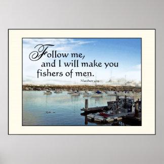 Pescadores de los veleros del puerto de la impresi póster