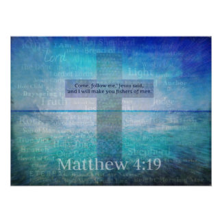 Pescadores del 4:19 de Matthew del verso de la bib Poster