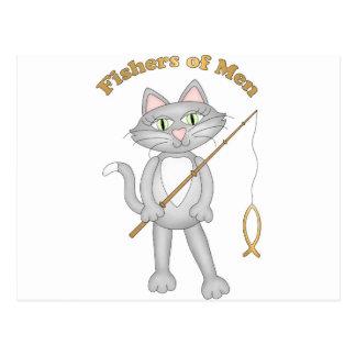 Pescadores del gato tarjeta postal