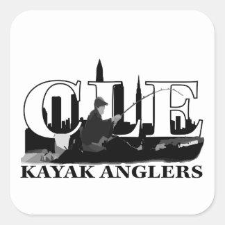 Pescadores del kajak de CLE Calcomania Cuadradas