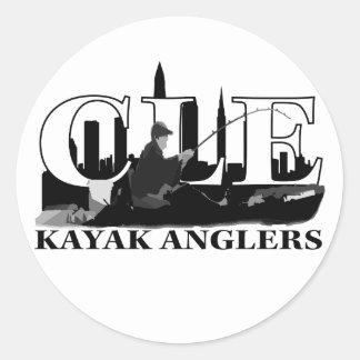Pescadores del kajak de CLE Etiquetas Redondas