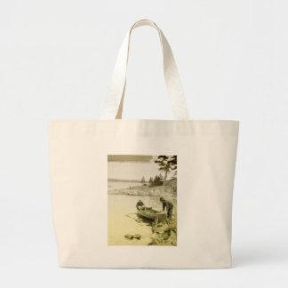 Pescadores del vintage bolsa tela grande