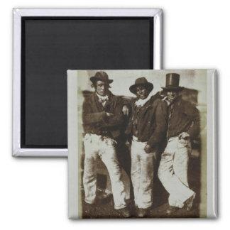 Pescadores en tierra, c.1843-47 (impresión del pap imán cuadrado