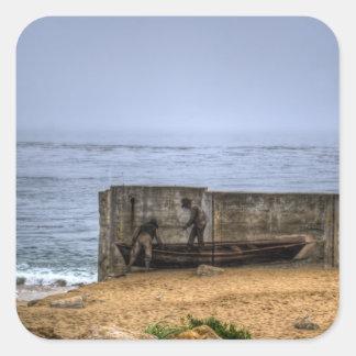 Pescadores murales etiqueta