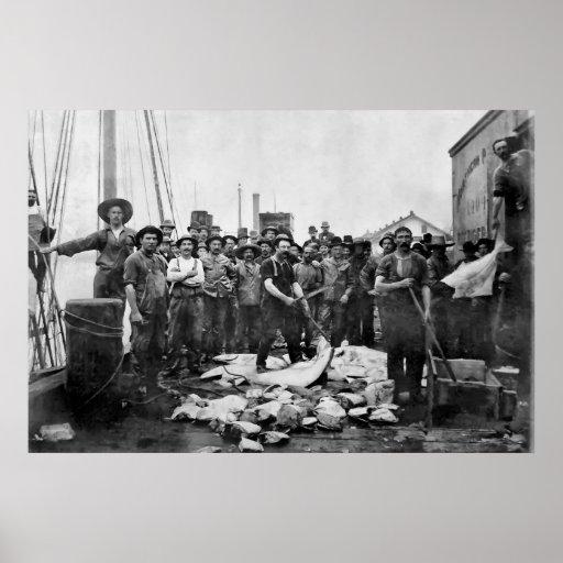 Pescadores Puget Sound 1888 - Washington Póster