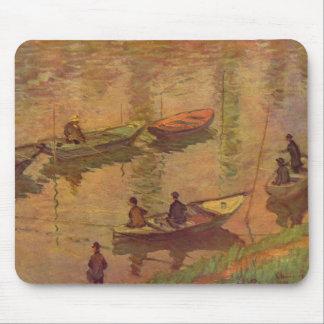 Pescadores que pescan el río el Sena en Poissy de Alfombrillas De Ratón