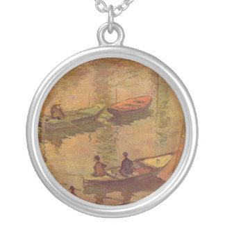 Pescadores que pescan el río el Sena en Poissy de Collar Plateado