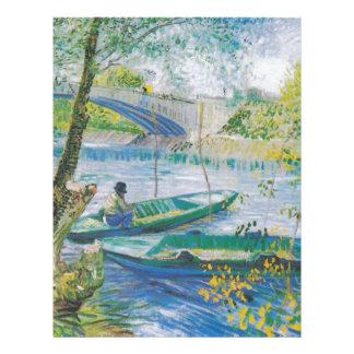 Pescadores y barcos de Van Gogh en el Pont de Clic Membrete