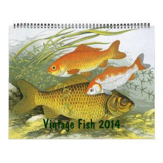 Pescados 2014 del vintage en los océanos y los río calendarios