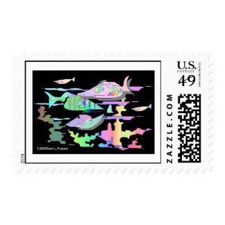 Pescados abstractos tropicales sellos