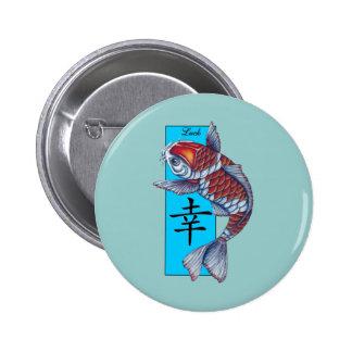Pescados afortunados de Kohaku Koi Pin Redondo De 2 Pulgadas