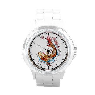 Pescados afortunados del koi de la tinta japonesa  relojes de pulsera