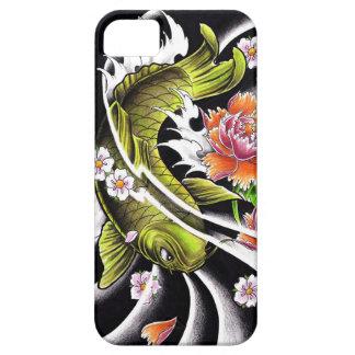 Pescados afortunados del koi de la tinta negra iPhone 5 carcasas