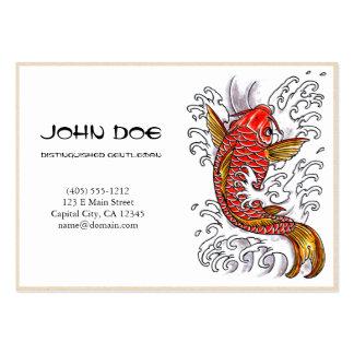 Pescados afortunados del koi de la tinta roja japo tarjetas de visita grandes