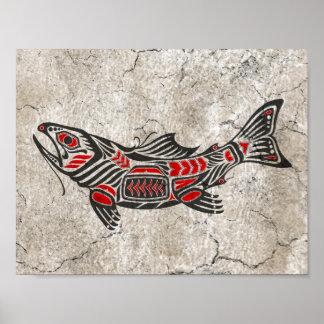 Pescados agrietados del alcohol del Haida Póster