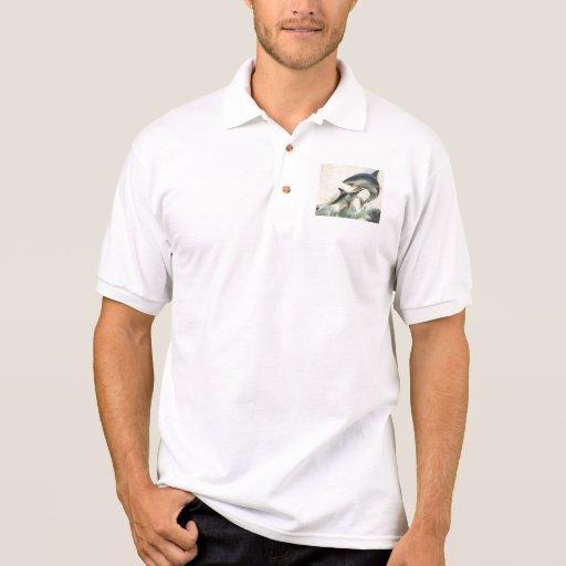 Pescados - aguja negra y tiburón de Mako Polo Camisetas