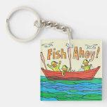 ¡Pescados Ahoy! Llavero Cuadrado Acrílico A Doble Cara