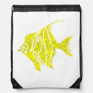 Pescados amarillos apenados del ángel mochilas