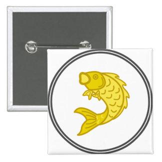 Pescados amarillos de Koi - colección del cangrejo Pin Cuadrada 5 Cm