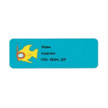 Pescados amarillos que nadan que bucean etiqueta de remitente