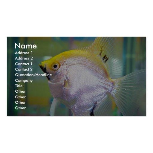 Pescados amarillos y de plata en el tanque plantillas de tarjeta de negocio