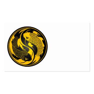 Pescados amarillos y negros de Yin Yang Koi Tarjetas De Negocios