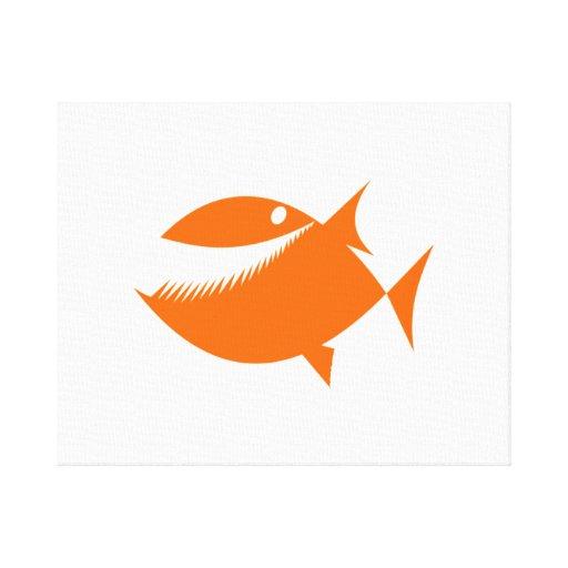 Pescados anaranjados del dibujo animado lona estirada galerías