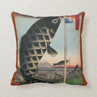 Pescados asiáticos del arte cojines
