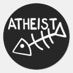 Pescados ateos etiquetas redondas