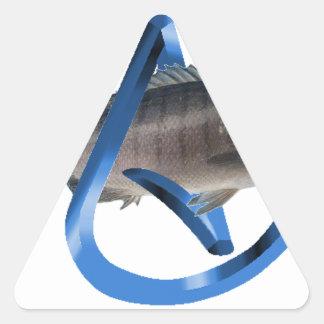 Pescados ateos pegatina triangular