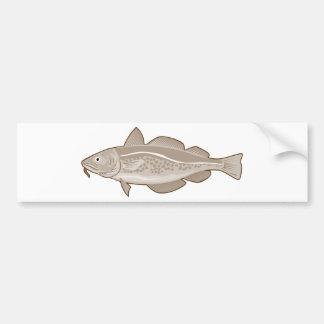 pescados atlánticos de los abadejos de los bacalao etiqueta de parachoque