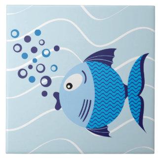 Pescados azules azulejo cuadrado grande