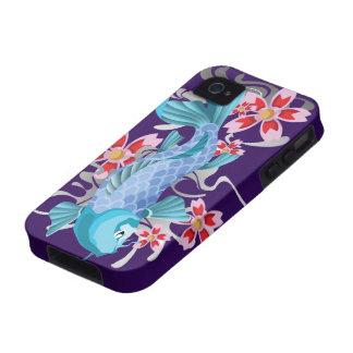 Pescados azules de Koi en añil iPhone 4/4S Fundas