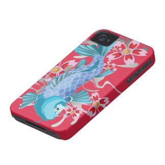 Pescados azules de Koi en violeta roja iPhone 4 Protectores