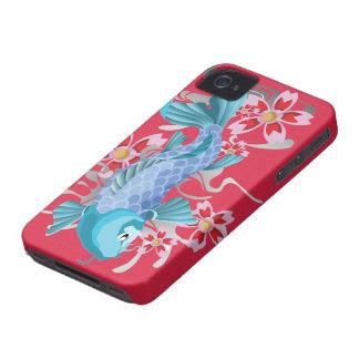Pescados azules de Koi en violeta roja iPhone 4 Carcasas