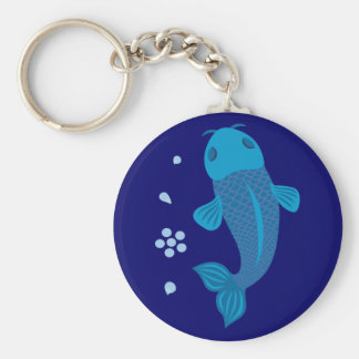Pescados azules de Koi Llaveros Personalizados