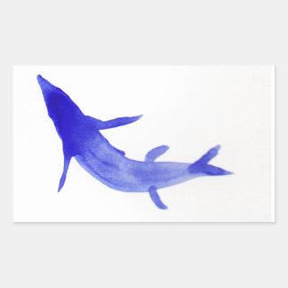Pescados azules de Koi Rectangular Pegatina