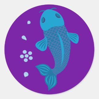 Pescados azules de Koi Etiqueta